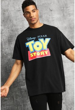 Disney Oversized Classic Toy Story Sign T-Shirt, Black, HOMBRE