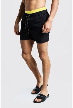 Contrast Waistband Mid Length Short, Black, HOMMES