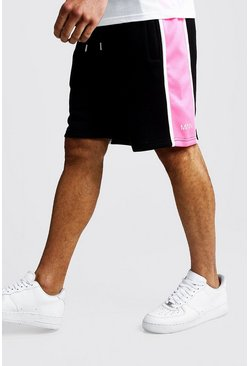 Mens Neon-pink Side Panel MAN Mid Length Shorts