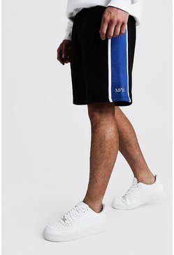 Mens Blue Side Panel MAN Mid Length Shorts