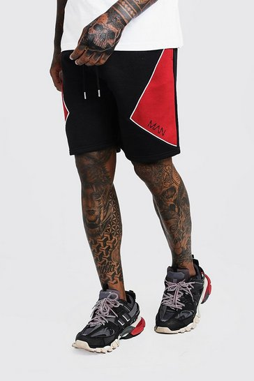 Mens Red Cut & Sew Mid Length MAN Shorts