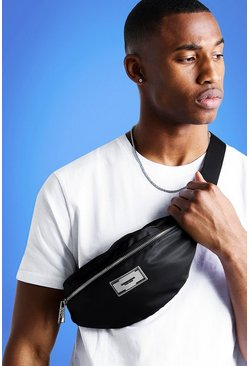 Mens Black MIST Nylon Bumbag With Rubber Branding