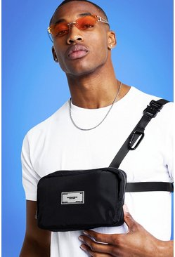 Mens Black MIST Nylon Strap Bumbag With Rubber Branding
