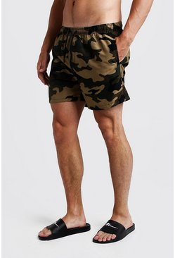 Mens Camo Print Mid Length Swim Short