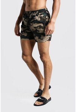 Camo Short Length Swim Shorts, HOMBRE