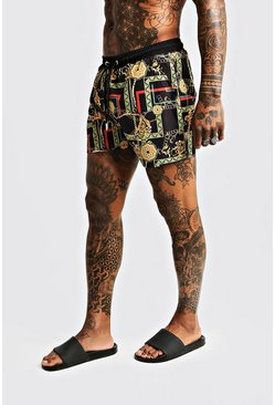 Herr Multi Chain Print Mid Length Swim Shorts