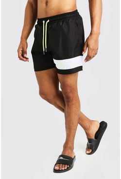 Mens Neon-yellow Contrast Panel MAN Signature Swimshort
