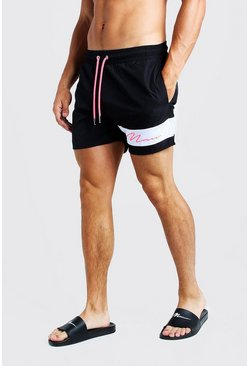 Herr Neon-pink Contrast Panel MAN Signature Swim Short