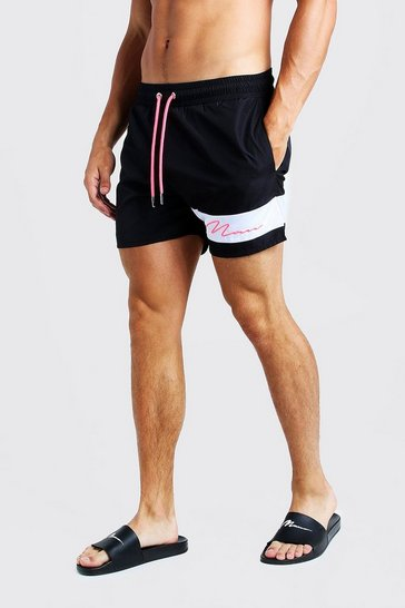 Mens Neon-pink Contrast Panel MAN Signature Swim Short