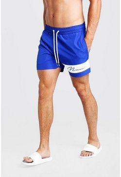 Herr Blue MAN Signature Panelled Mid Swim Short