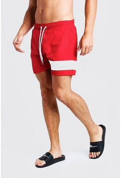 Mens Red MAN Signature Panelled Mid Swimshort