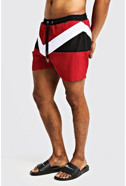 Mens Black Colour Block Mid Length Swimshort