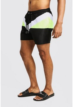 Mens Lime Colour Block Short Length Swimshort
