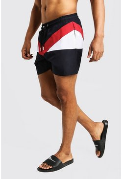 Mens Red Colour Block Mid Length Swim Short