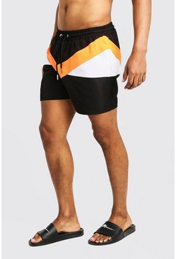 Herr Orange Colour Block Mid Length Swim Short