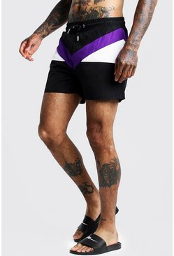 Herr Purple Colour Block Mid Length Swim Short
