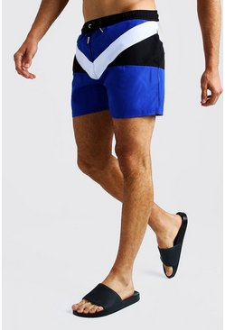 Herr Blue Colour Block Short Length Swimshort
