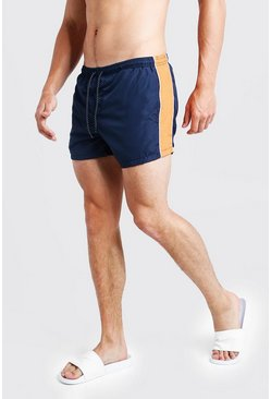 Mens Navy Contrast Panel Mid Length Swim Short