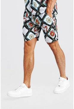 Multi Chain Print Mid Length Short, White, HOMMES