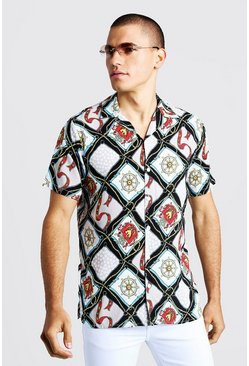 Multi Chain Print Short Sleeve Revere Shirt, White, HOMMES
