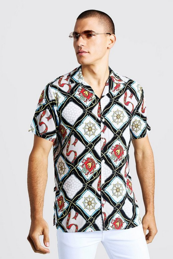 Mens White Multi Chain Print Short Sleeve Revere Shirt
