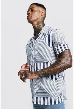 Chevron Print Short Sleeve Revere Shirt, White, HOMBRE