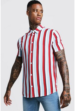 Vertical Stripe Short Sleeve Shirt, Red, HERREN