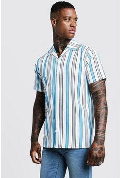 Vertical Stripe Short Sleeve Revere Shirt, White, HOMBRE