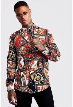Mens Red Baroque Chain Print Long Sleeve Shirt