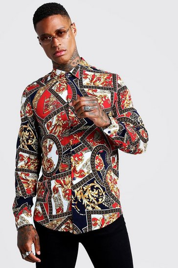 Red Baroque Chain Print Long Sleeve Shirt