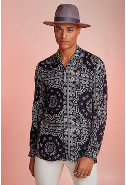 Navy Bandana Print Long Sleeve Revere Shirt