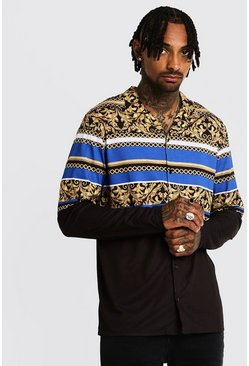Mens Cobalt Chain Print Long Sleeve Revere Shirt