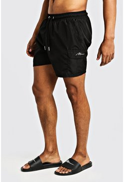 Herr Black Mid Length Cargo MAN Swim Shorts
