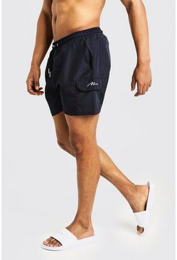 Navy Mid Length Cargo MAN Swim Shorts