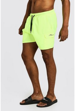 Neon-yellow Mid Length Cargo MAN Swim Shorts