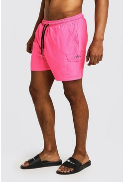 Herr Neon-pink Mid Length Cargo MAN Swim Shorts