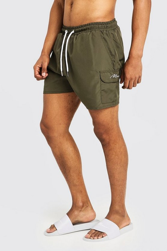 Khaki Mid Length Cargo MAN Swim Shorts