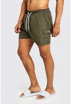 Mens Khaki Mid Length Cargo MAN Swim Shorts
