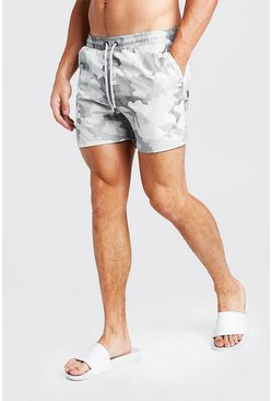 Herr Camo Cargo Mid Length Swim Shorts