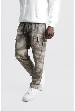 Mens Taupe Camo Elongated Drawcord Cargo Trouser