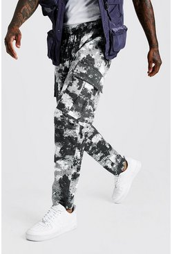 Grey Camo Elongated Draw Cord Cargo Trouser