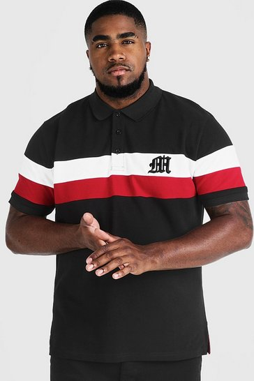 Mens Black Big & Tall Polo With 3D M Embroidery