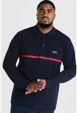 Big & Tall Polo With Tape Detail, Navy, HOMBRE