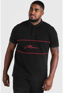 Black Big & Tall Polo With 3D MAN Script Embroidery