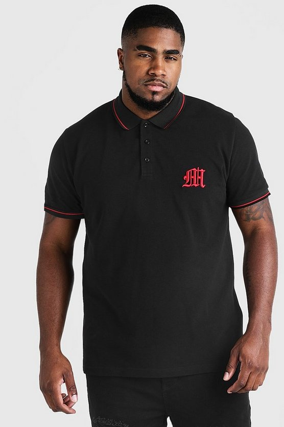 Mens Black Big & Tall Polo With 3D Embroidered M
