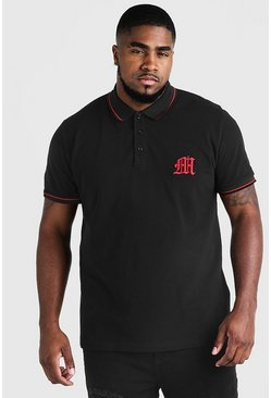 "Big & Tall Poloshirt mit ""M"" in 3D-Stickerei, Schwarz, Herren"