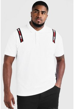 Big & Tall Polo With MAN Tape, White, HOMBRE