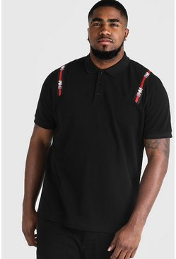 Big & Tall Polo With MAN Tape, Black, HOMBRE
