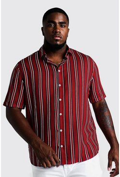 Mens Red Big & Tall Stripe Print Shirt
