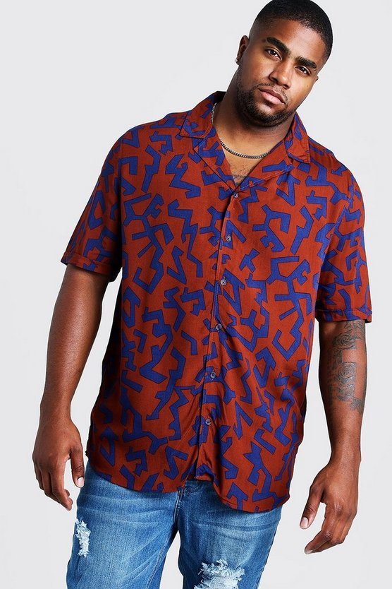 Rust Big & Tall Revere Collar Abstract Print Shirt